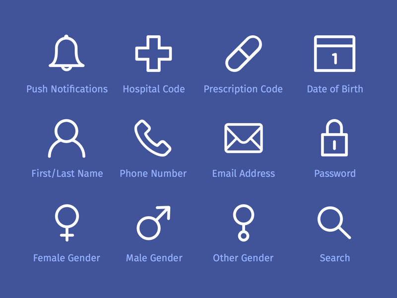 Onboarding Icons register sign up flat design health icon medical gender onboarding iconset line icons icons
