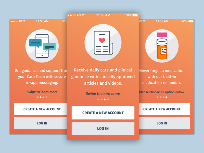 Wellframe Tutorial Screens patient medication clean sign up login mobile health app ios line illustration