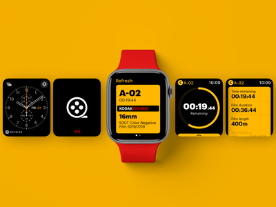 KODAK - Connected Film Coil - WatchOS Companion kodak typography minimal watchos watch app ui design