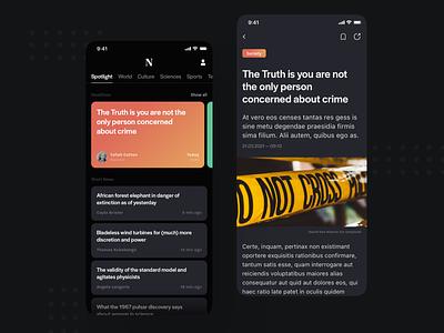 News App design mobile app design mobile ui mobile design mobile app mobile newspaper news app news dark ios typography color gradient flat app minimal ui
