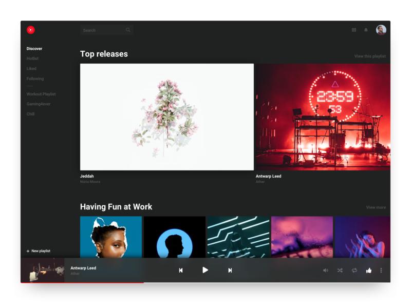 #DailyUI 009 - Music Player (YouTube Music Redesign) redesign concept youtube music player music dark design ui dailyuichallenge dailyui