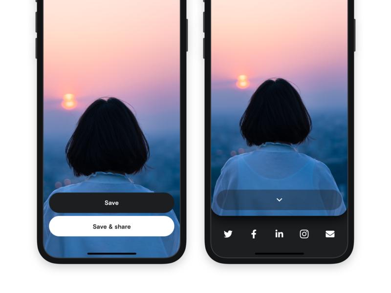 #DailyUI 010 - Social Share dark share share button social ios flat minimal design ui app dailyuichallenge dailyui