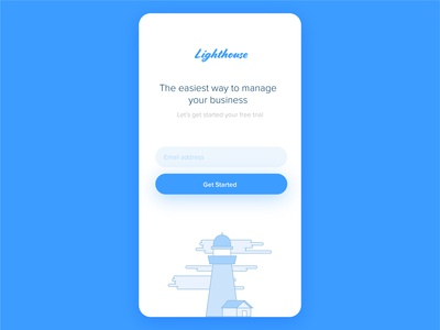 Lighthouse app getting started screen