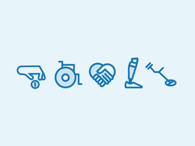 Aid Organzation Icons dissability icon design icon set design poverty prosthetic wheelchair donation handicap icons organization aid