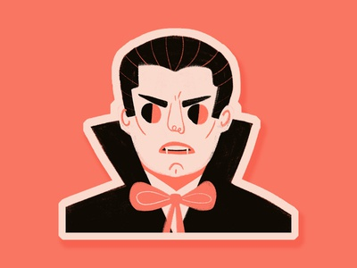 Dracula Sticker inktober 2018 inktober2015 inktober vector portrait illustration sticker design die cut sticker set vampire count dracula drac dracula spooky halloween spook stickermule sticker