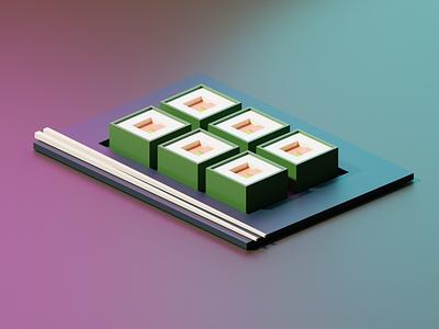 Sushi Roll blender 3d 3d illustration blender