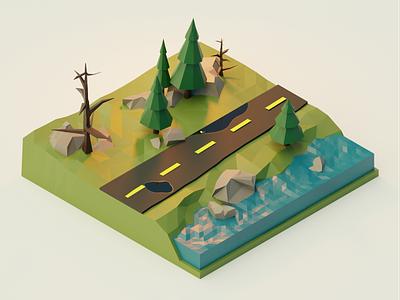 Forest Road 3d modeling 3d art 3d illustration blender3d blender