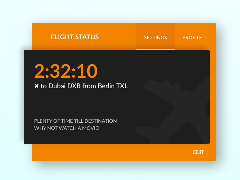 In-flight Screen design card ui screen movie flight
