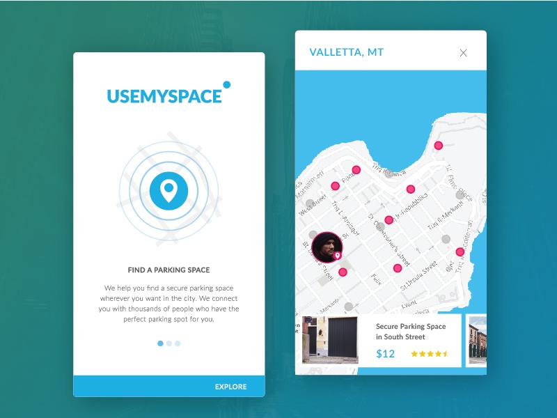 USEMYSPACE search city cards userprofile onboarding parking ui app