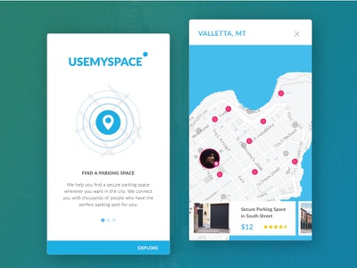 USEMYSPACE search city cards userprofile onboarding parking ui app