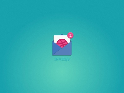 2x Dribbble Invites participate draft gift offer challenge bid join mail two icon dribbble invites