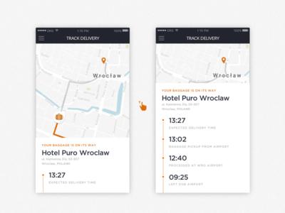Bag Track UI cards list time logistics city baggage tracking ui free throw app