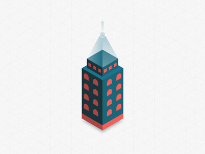 Isometric Tower 3d isometric illustration geometic cubes design tower isometric