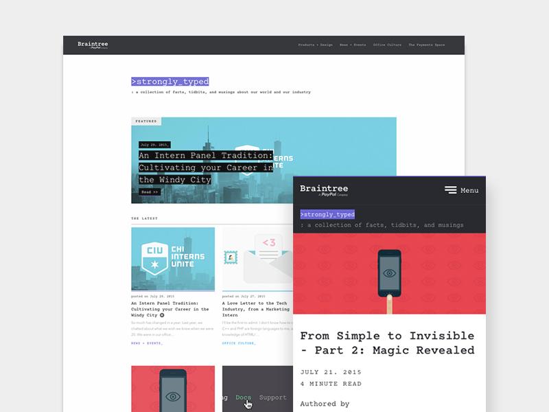 Strongly Typed - Braintree Blog monospaced code posts web design grid payments responsive blog braintree