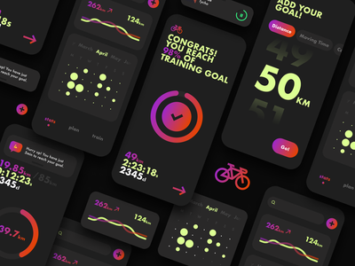Bike Trainer App graphic design gradient mobile design ui lifestyle uidesign fitness ux training illustration ios mobile app clean lineart elegant minimal cycling bike app