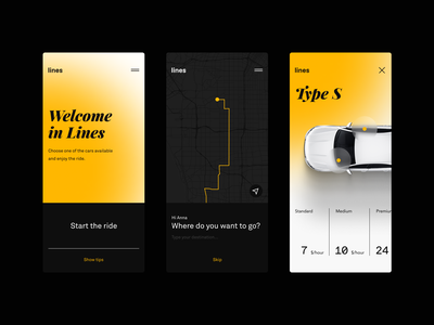 Lines Carsharing app ui ux design gogoapps productdesign ui design clean lineart elegant minimal typo carsharing cars car automotive typography userinterface