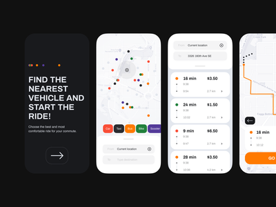 Commute Sharing App color flatdesign dots clean car gogoapps tech communication taxi carsharing cars minimal ios mobile typography ux design ui interface app
