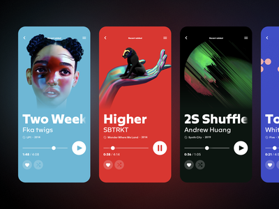 Music Player App typography flat design mobile design colors interface minimal streaming mobile sketch ios ux ui color cover app player music