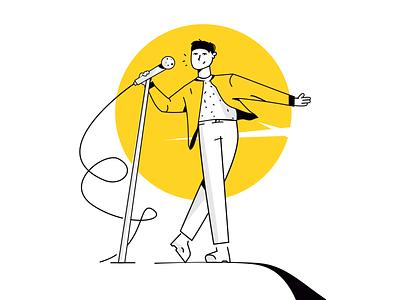 Singer character design illustrator scene art illustration vector lineart artist microphone song music stage singer