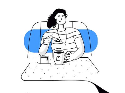 Drinking Tea - Illustration character design illustrator scene art illustration vector scoop sugar softdrink drink