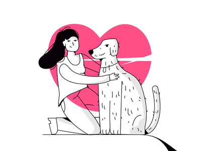 dog lover girl character colorful character scene illustrator art vector illustration drawing domestic girl lover hug dog