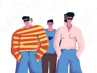 Friends bodyguards - Illustration texture colorful character flat scene vector art illustration people bodyguards