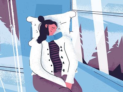 Travel in winter - Illustration colorful character scene art illustration voyage texture train sleep winter travel