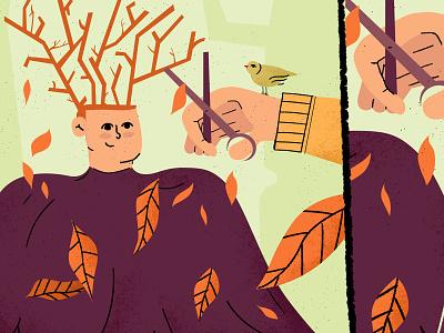 Autumn season - Illustration haircut characters texture colorful character flat scene art illustration season