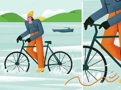 Riding bike - Illustration colorful design character flat scene art illustration texture water sea riding bike