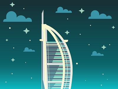 Building Skyscraper dubai borj al arab architect art skyscraper building flat illustration vector
