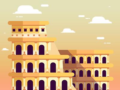 Colosseum architechture colosseum design roma art flat illustration vector