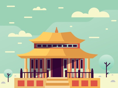 CHINA Building colorful scene winter china art flat illustration vector building architecture