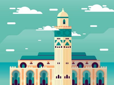 Moroccan Mosque scene hassan ii casablanca architecture art flat illustration vector mosque morocco