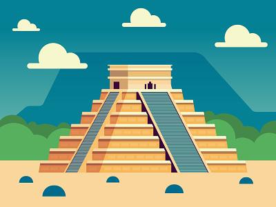 Chichen Itza Pyramid architecture illustrator scene art flat illustration vector mexico pyramid itza chichen
