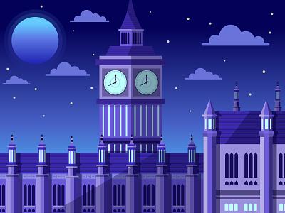 Big Ben illustrator scene art flat illustration vector moonlight night building architecture london big ben