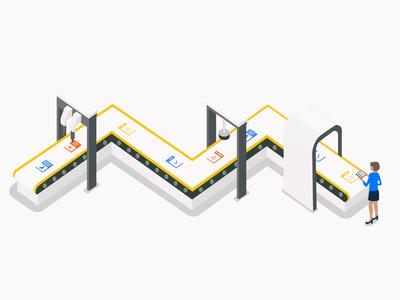 Scanning machine illustration