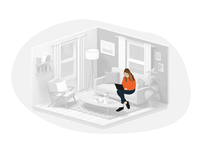 Woman sitting in the living room.