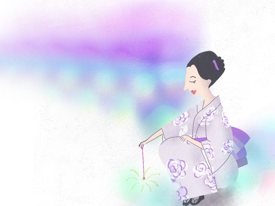 Summer is soon/02 fireworks woman illustration illustraion kimono summer