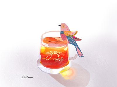 Tea with a wood bird illustration digital gouache watercolor illustration bird illustration tea procreate art procreate illustration