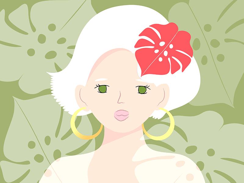 Day1 prompt girlillustration whitehair tropical girl illustration