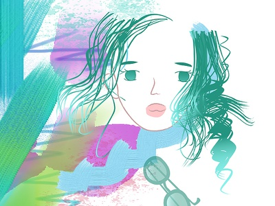 Day4 prompt girlillustration abstract colors abstract art girl illustration