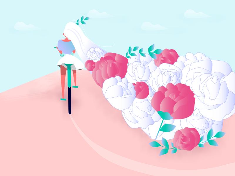 Go my way〜 bicycle blueandpink longhair flower rose design girl illustration