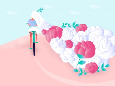 Go my way〜 bicycle blueandpink longhair flower rose design girl illustration