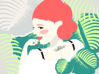 Saturday challenge plant illustration redhair girlillustration girl illustration