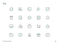 First Set Of Green Linear Icons
