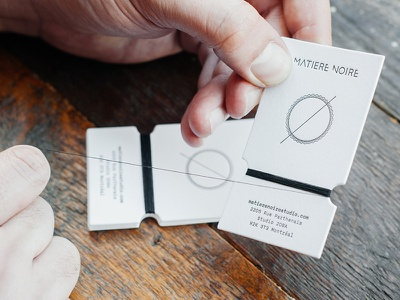 Matière Noire Handmade Business Card handmade letterpress business card branding fashion craft modern minimal montreal sewing thread paper