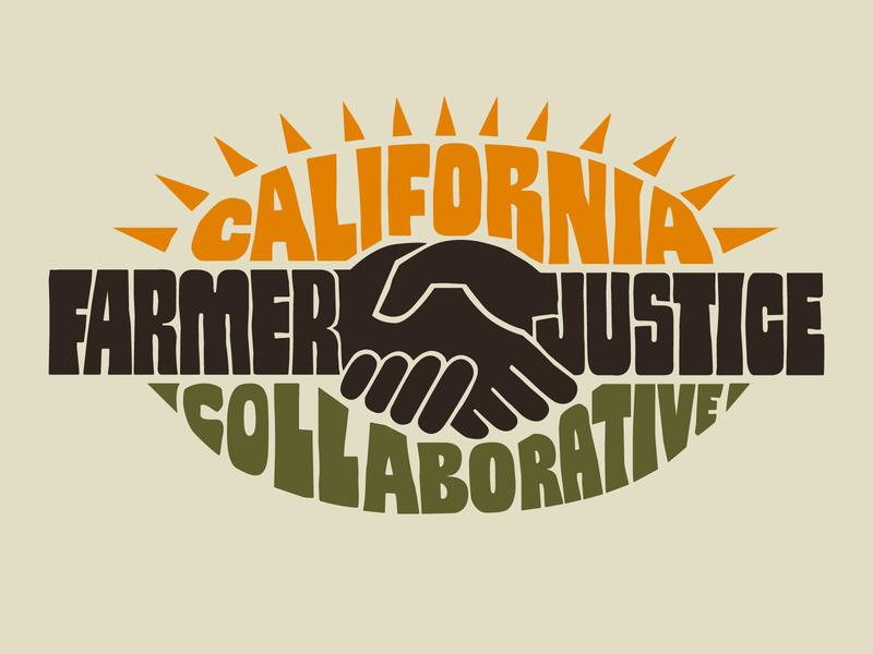 California Farmer Justice Collaborative hand drawn handlettering logo sun farmer