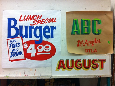 2nd semester projects sign graphics signpainter one shot quill paper sign convex hand painted lattc doc guthrie