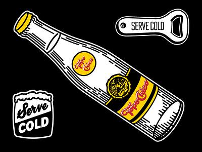 Topo Chico bottle opener yellow black script illustration bottle