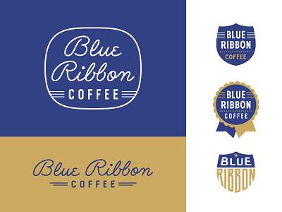 Blue Ribbon badge coffee gold blue monoweight script